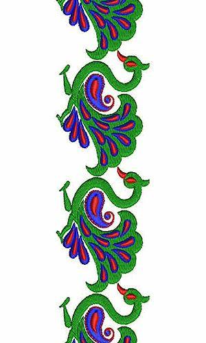 300x500 Peacock Embroidery Border Designs