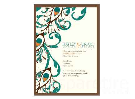 433x319 Damask And Peacock Stationery Design