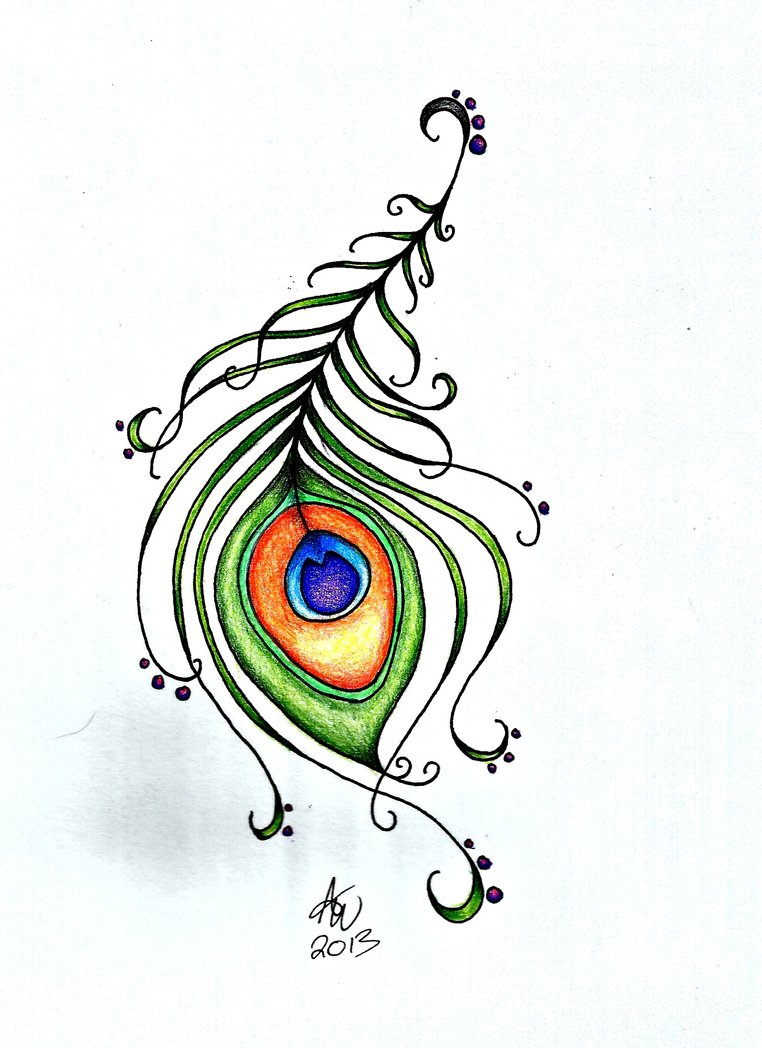 762x1048 Simple Peacock Feather Drawing