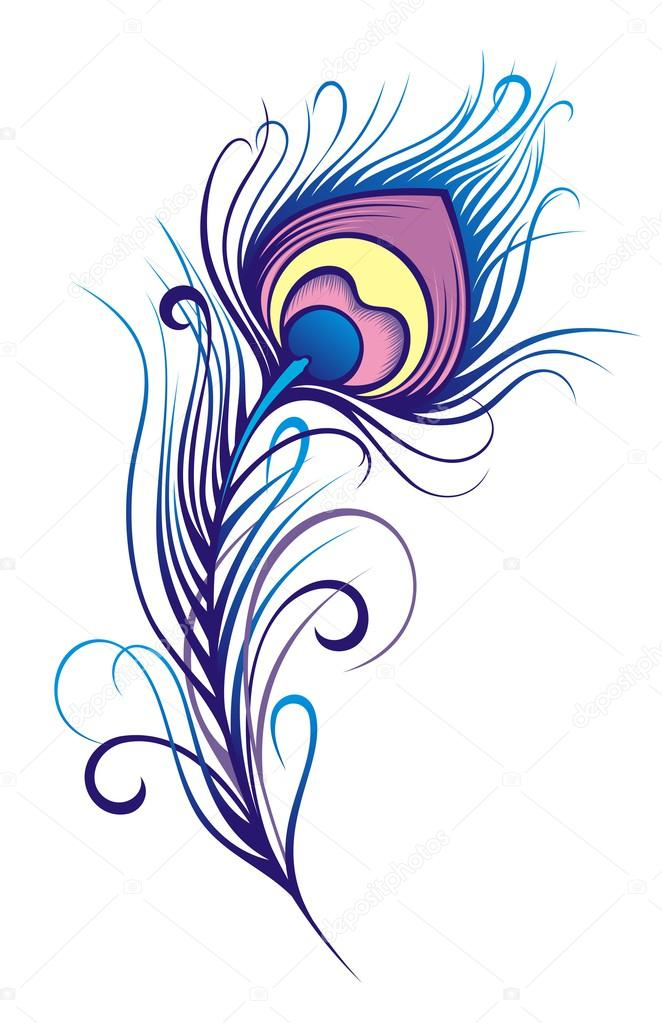 662x1023 Stylized Peacock Feather Stock Vector Ksyshakiss