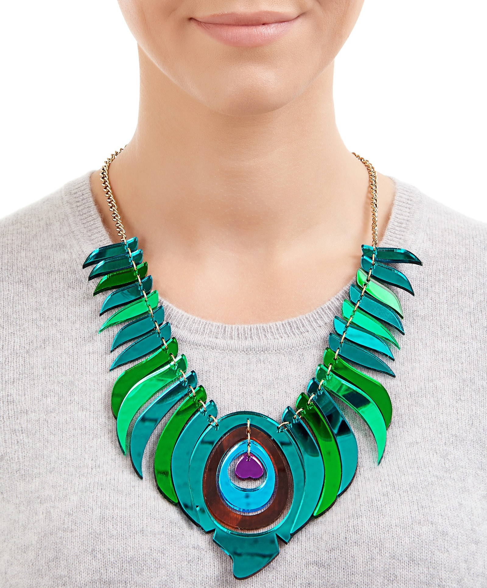 1600x1932 Peacock Feather Statement Necklace