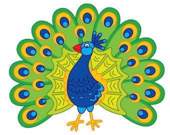 340x270 Peacock Clip Art Etsy