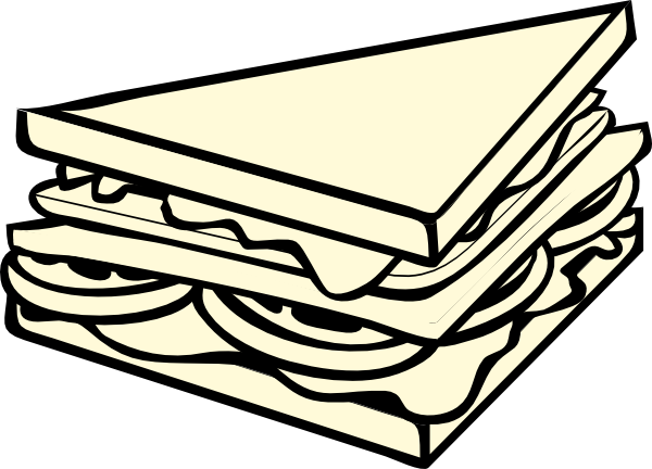 600x432 Sandwich Half Bampw Clip Art