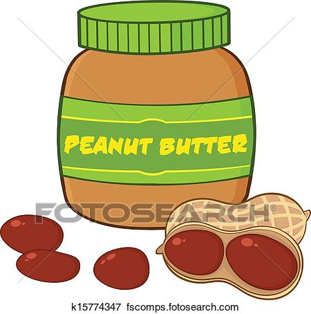 450x454 Clip Art Of Peanut Butter Jar With Peanuts K15774347