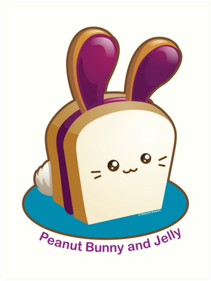 413x549 Punny Buns Cute Peanut Butter And Jelly Sandwich Bunny Art