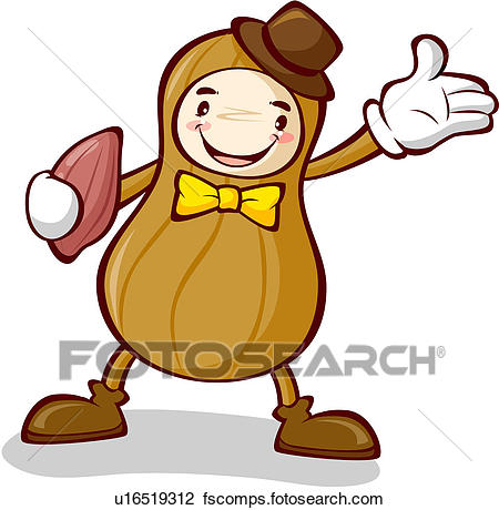 450x460 Clipart Of Peanut, Character, Nuts, Plant, Agricultural Product