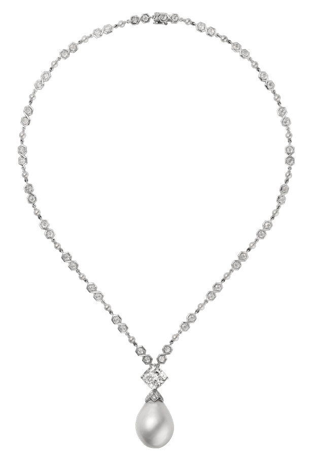 617x907 Diamond Necklace With Pearl Png Clipart