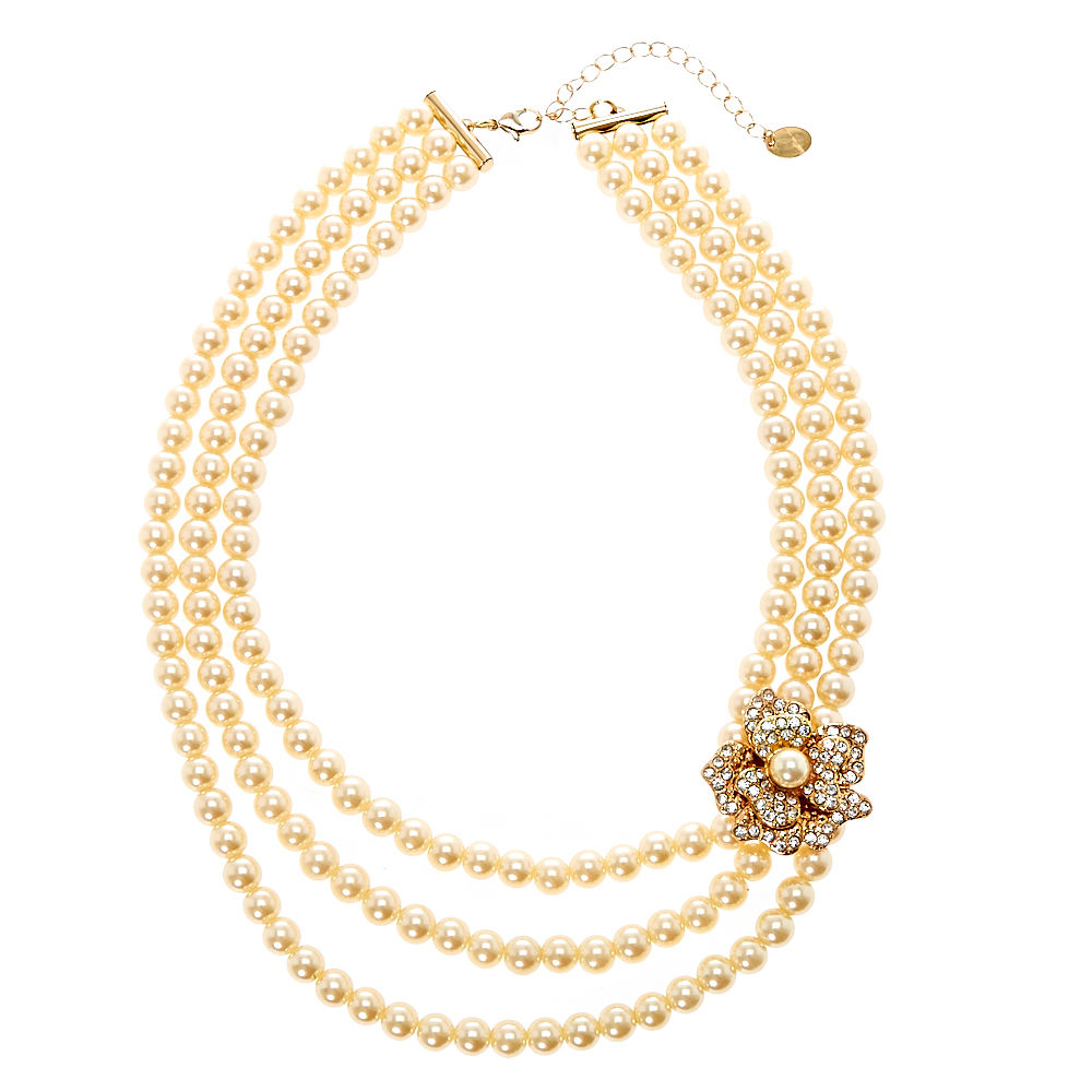 1000x1000 Multi Layer Ivory Pearl Necklace With Gold Tone Flower Brooch
