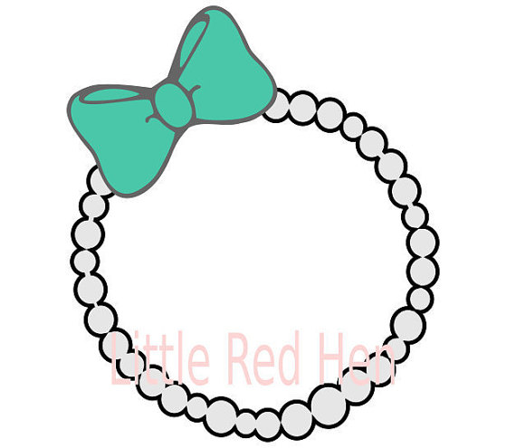 570x495 Pearl Necklace With Bow Monogram Frame Svg