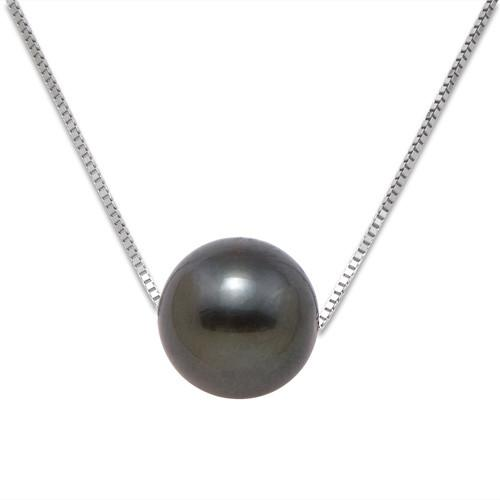 500x500 Tahitian Black Pearl Necklace In 14k White Gold (9 10mm)