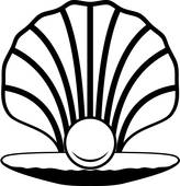 164x170 Clip Art Of Vector Opened Sea Shell With Pearl On The Sea Shore