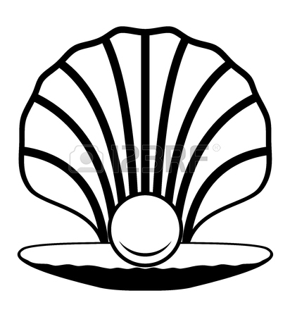 412x450 Black Pearl In Shell Icon. Vector Royalty Free Cliparts, Vectors
