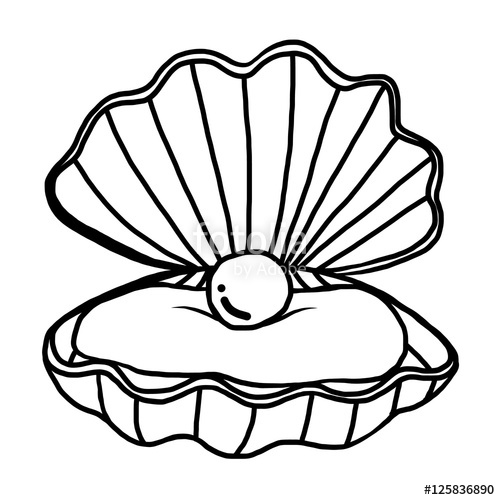 500x500 Pearl Shell Cartoon Vector And Illustration, Black And White