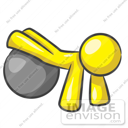 450x450 Clip Art Graphic Of A Yellow Guy Character Exercising With A Yoga