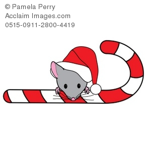 300x300 Art Illustration Of A Christmas Mouse Peeking Over A Candy Cane