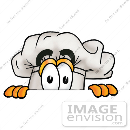 450x450 Clip Art Graphic Of A White Chefs Hat Cartoon Character Peeking
