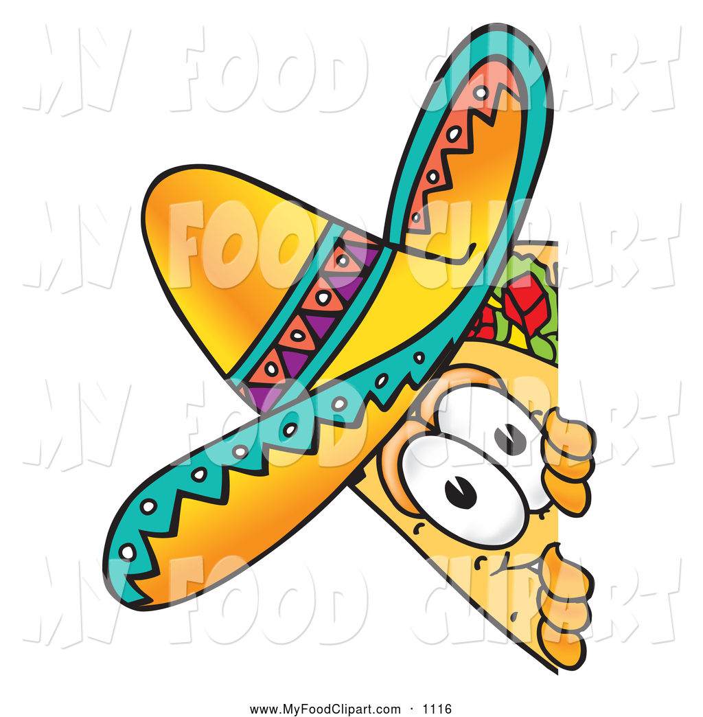 1024x1044 Food Clip Art Of A Happy Taco Mascot Cartoon Character Peeking