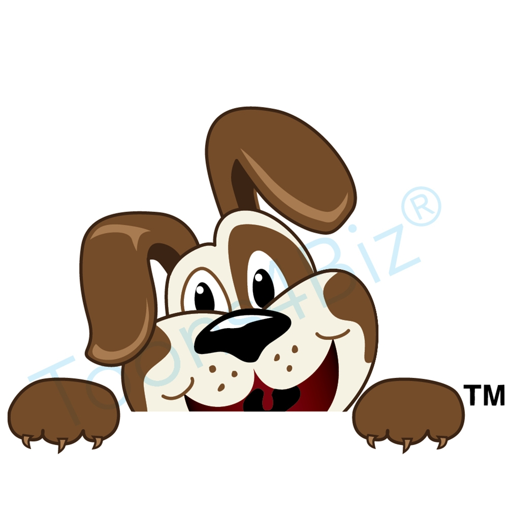 1000x1000 Puppy Mascot Peeking Over Clip Art Graphic