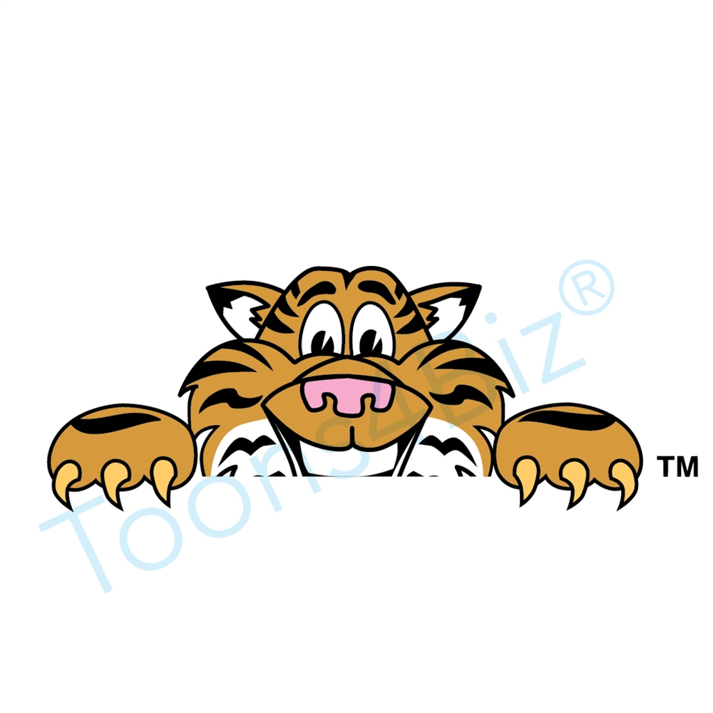 1000x1000 Tiger Mascot Peeking Over Clip Art Graphic