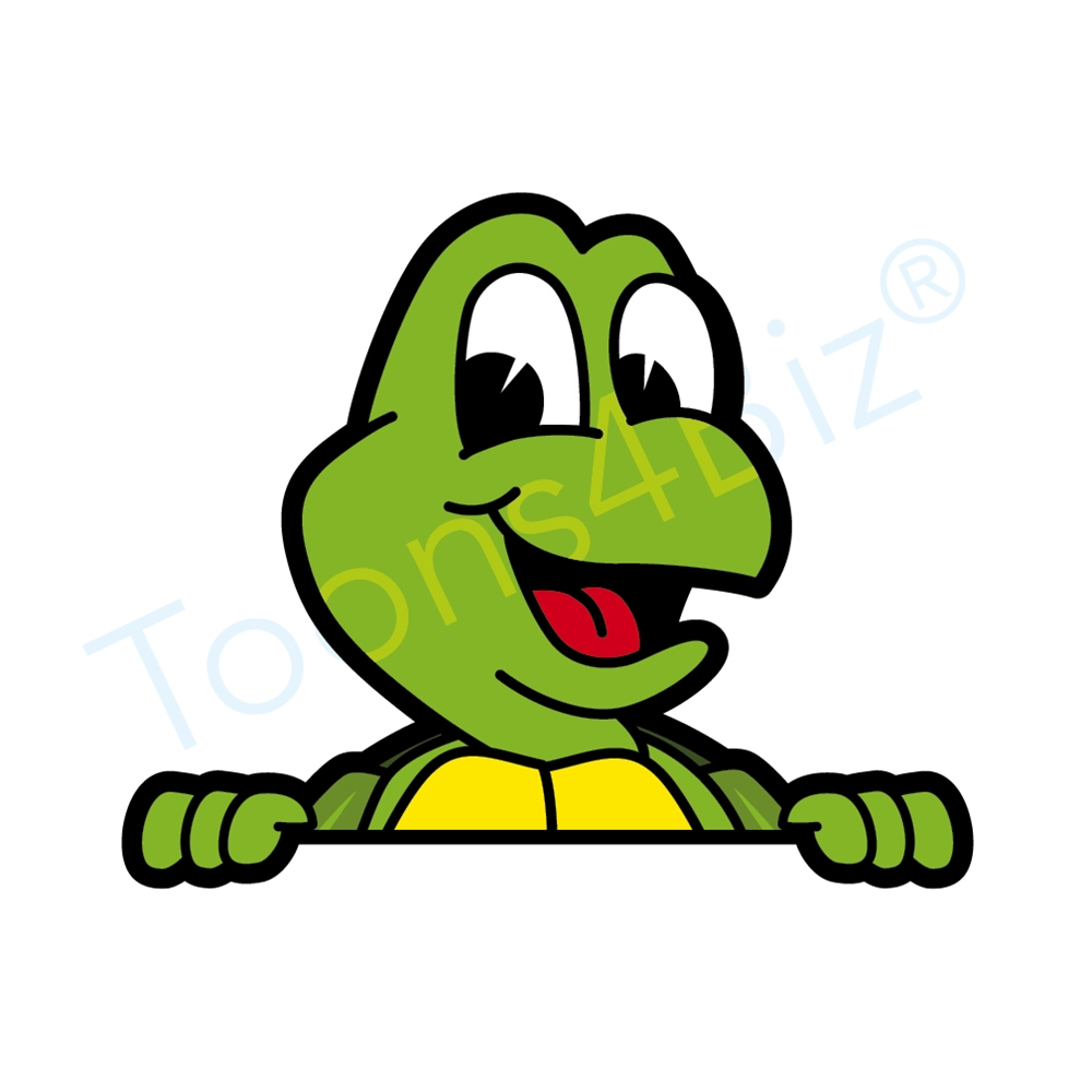1000x1000 Turtle Mascot Peeking Over Clip Art Illustration