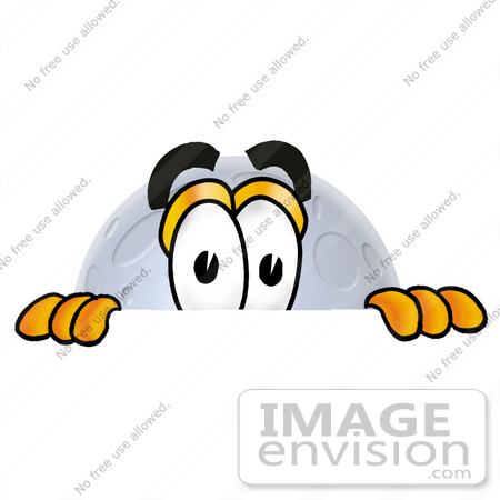 450x450 Cliprt Graphic Of Full Moon Cartoon Character Peeking Over
