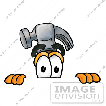 450x450 Cliprt Graphic Of Hammer Tool Cartoon Character Peeking Over