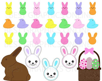 340x270 100 Colors Peeps Bunny Clipart Easter Candy Printable