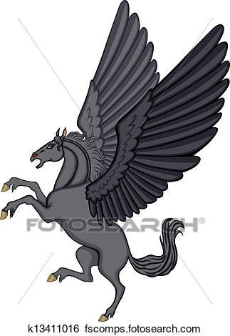 323x470 Clip Art Of Cartoon Black Pegasus K13411016