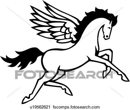 450x380 Clipart Of , Myth, Mythical, Mythological, Pegasus, Wings