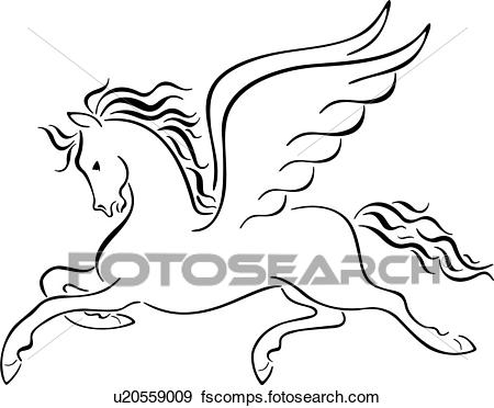 450x372 Clip Art Of , Animal, Myth, Mythical, Mythological, Pegasus, Roman