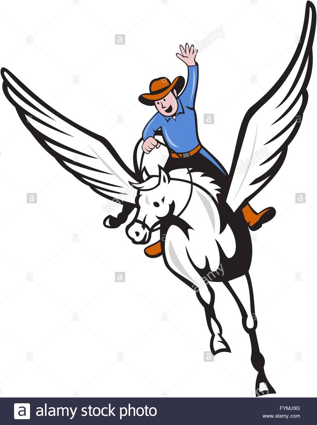 1035x1390 Cowboy Riding Pegasus Flying Horse Cartoon Stock Photo, Royalty