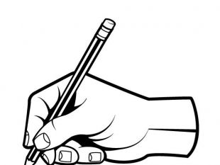 310x233 Drawn pen hand clip art