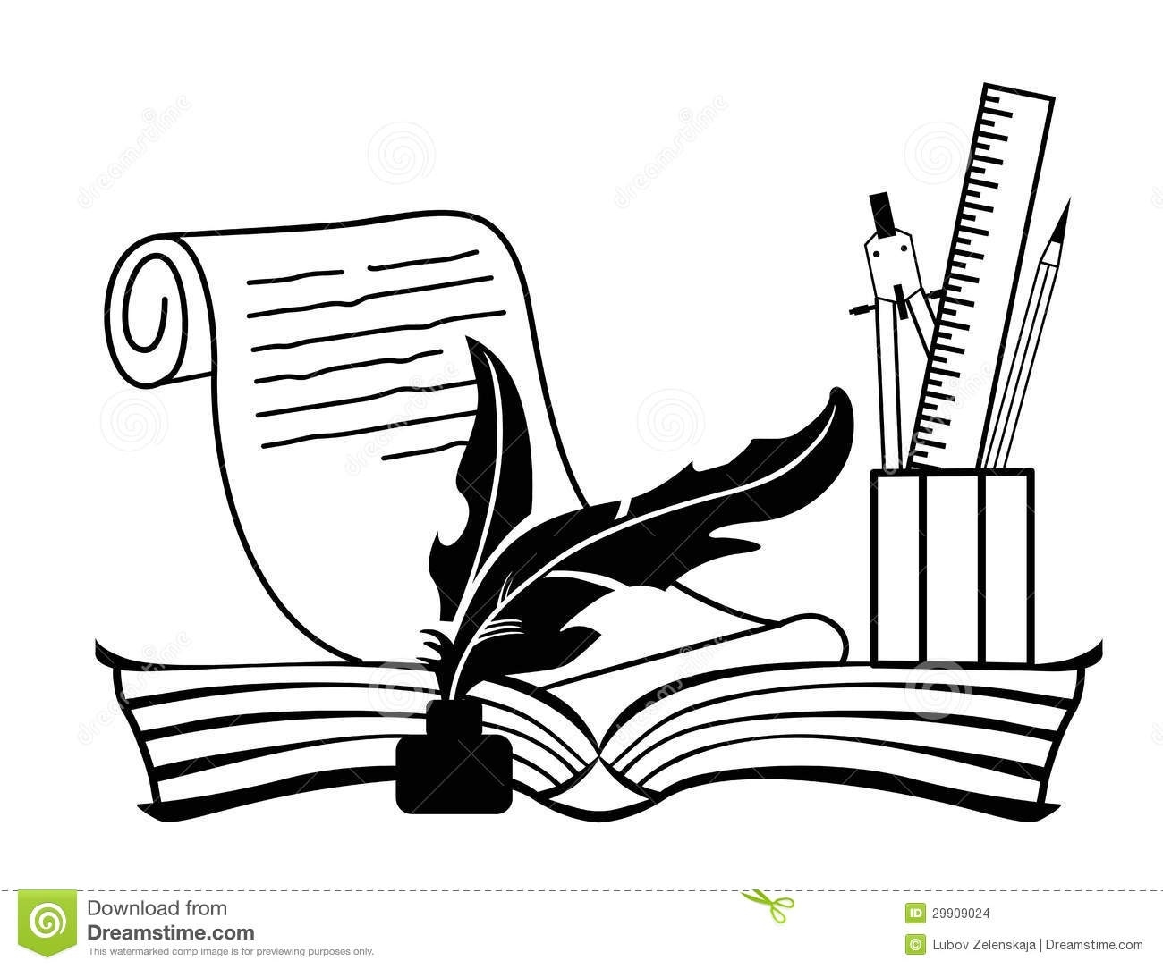 1300x1084 Open Book And Pen Clipart Black White Letters Example