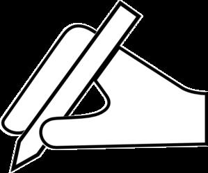 299x249 White Hand Pen Icon Clip Art