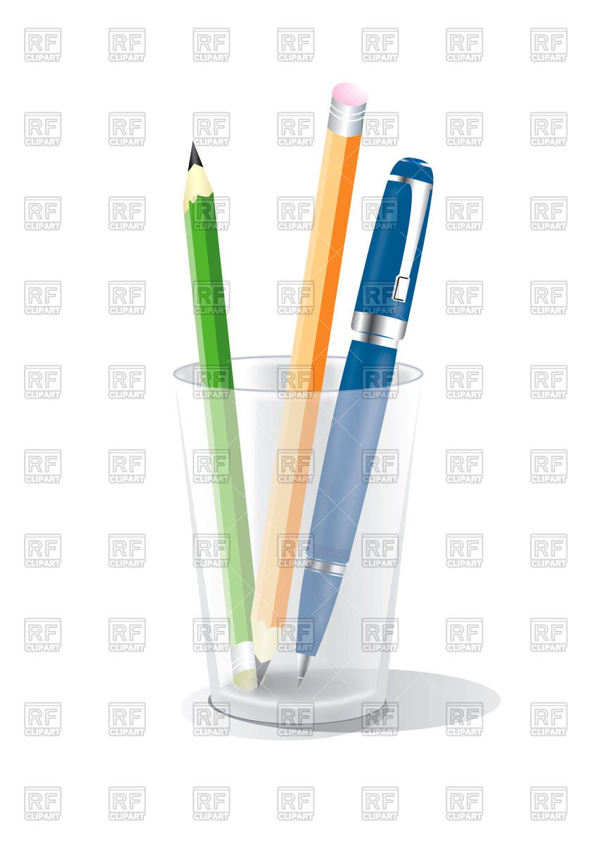 838x1200 Glass With Pencils And Pen Royalty Free Vector Clip Art Image