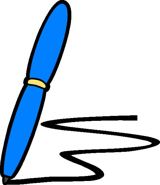 516x597 Blue Pen Write Clip Art