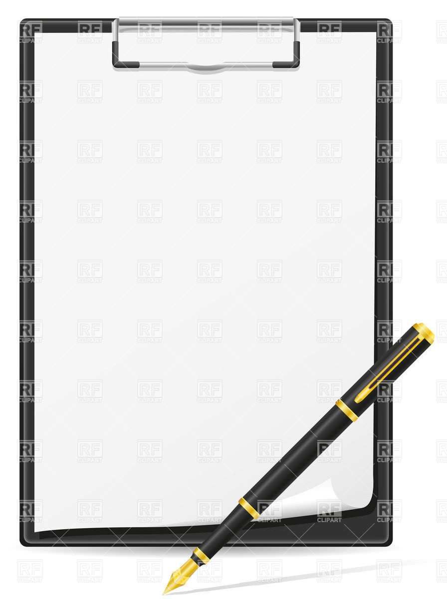 896x1200 Clipboard Blank Sheet Of Paper And Pen Royalty Free Vector Clip