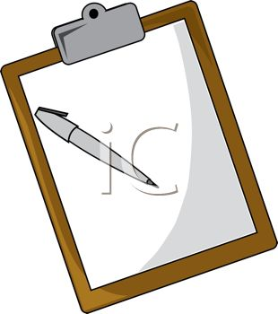 310x350 Royalty Free Clip Art Image Office Clipboard With a Piece of