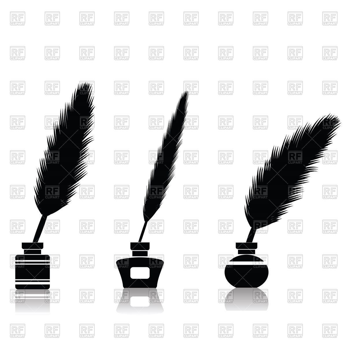 1200x1200 Silhouette of feather pen in inkwell Royalty Free Vector Clip Art