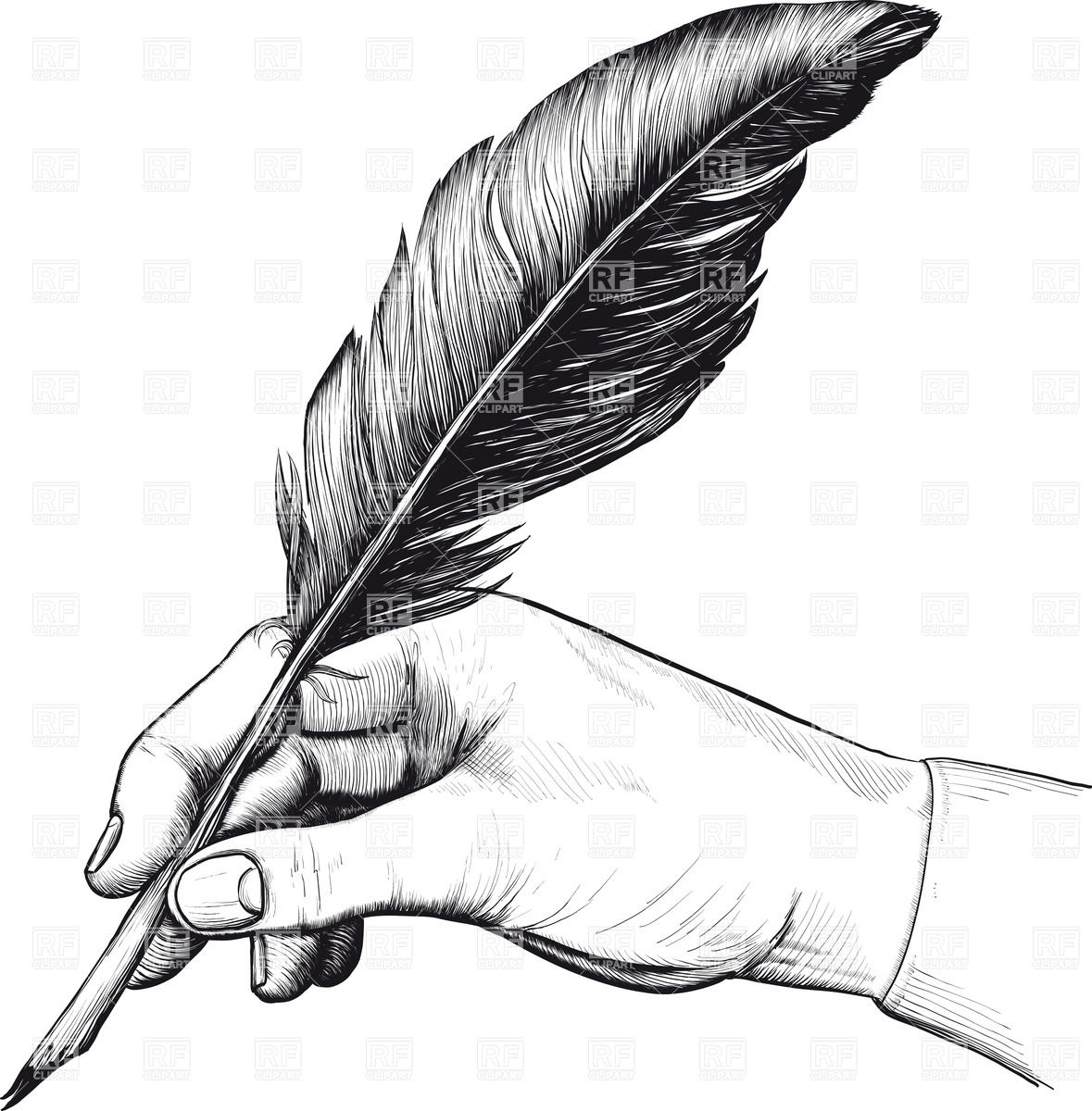 1179x1200 Vintage Drawing Of Hand With A Feather Pen Royalty Free Vector