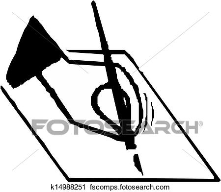 450x392 Clipart of Hand writing pen k14988251