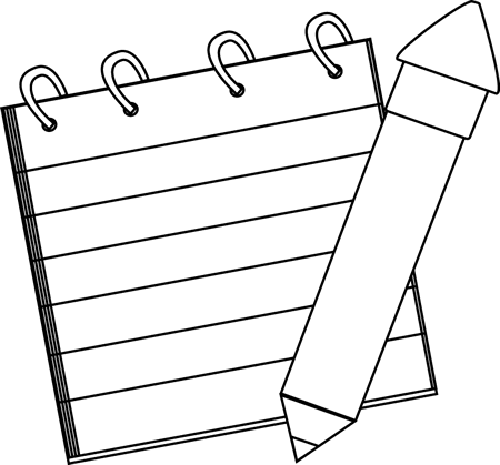 450x419 Black And White Detective Notepad And Pencil Clip Art