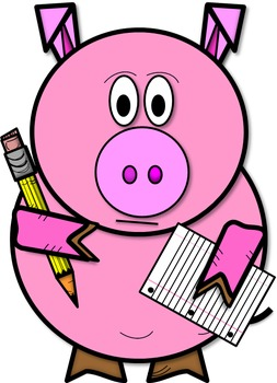 253x350 Clip Art Preston The Pig Holding Pencil And Paper (Color And Bampw)