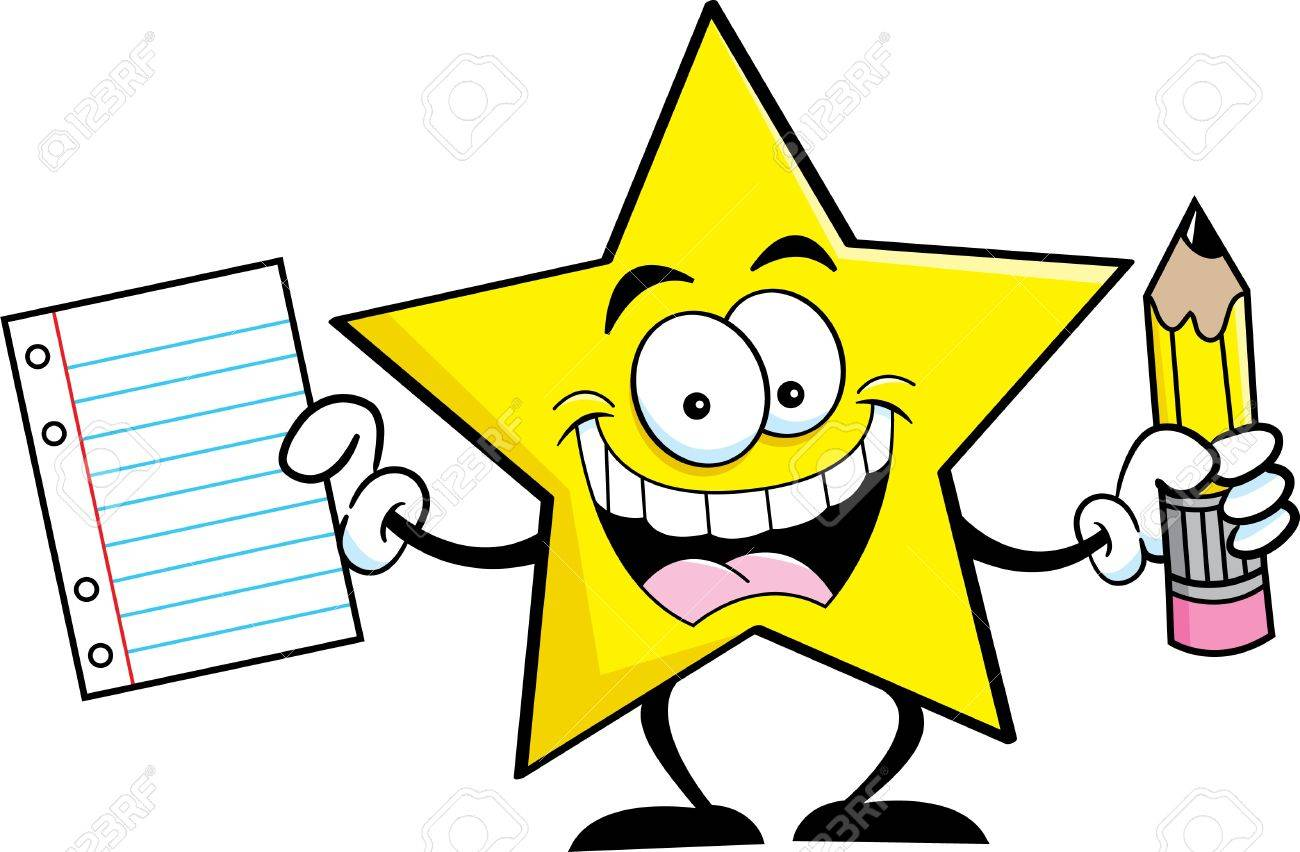 1300x852 Cartoon Illustration Of A Star Holding A Pencil And Paper Royalty
