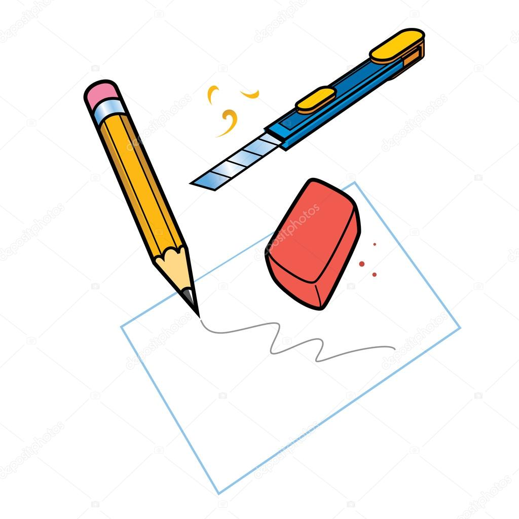 1024x1024 Stationery Set Sheet Paper Pencil Drawing Eraser Knife Artist