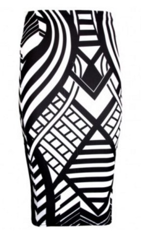288x471 Multi Print Black And White Pencil Skirt Ingridbridal Ingrid'S