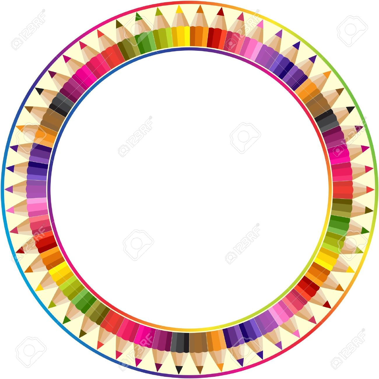 1300x1300 Round Frame Made From Color Pencils Royalty Free Cliparts, Vectors
