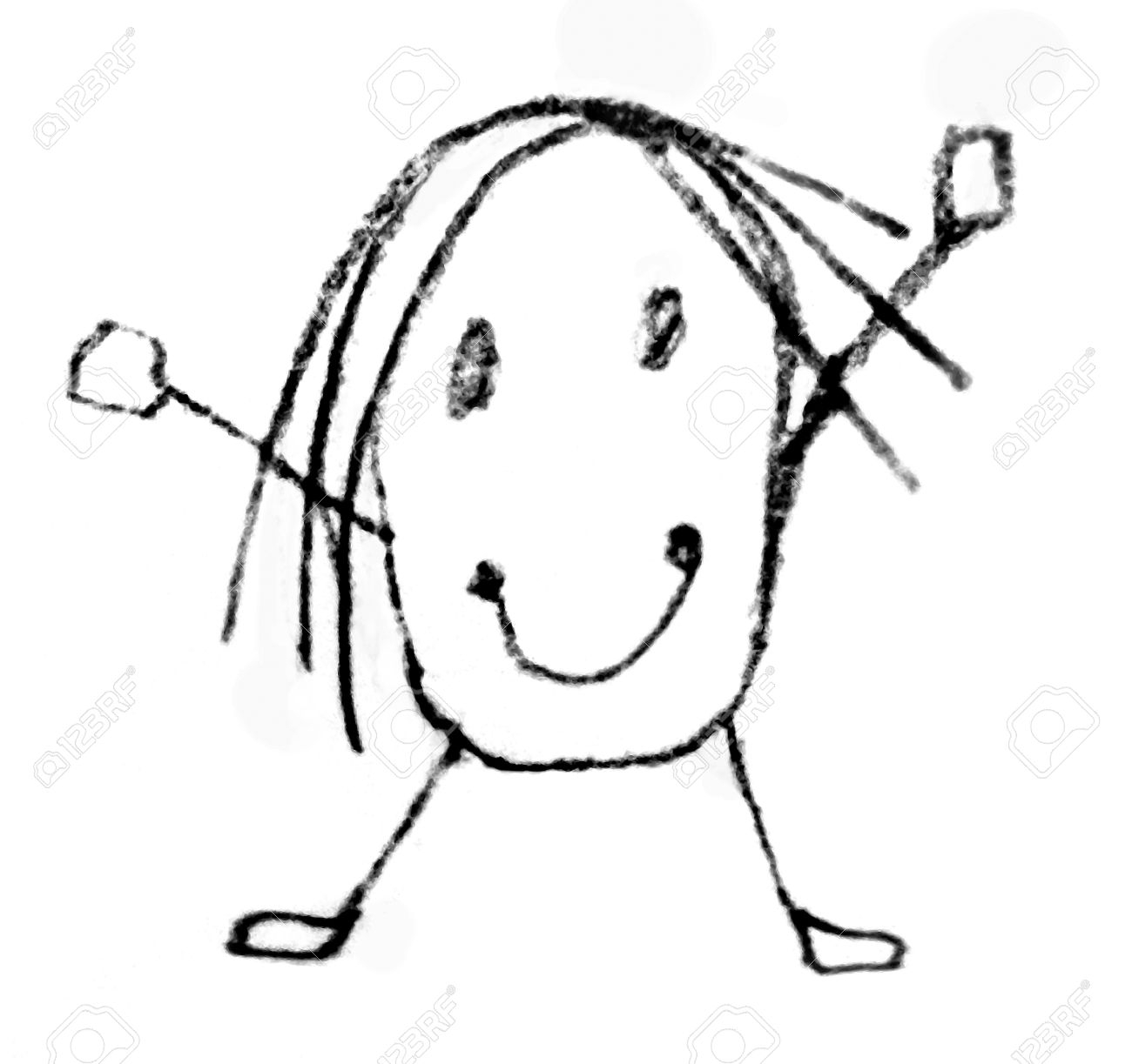 1300x1223 Cartoon Kids Face Pencil Drawing Funny Character With His Hands