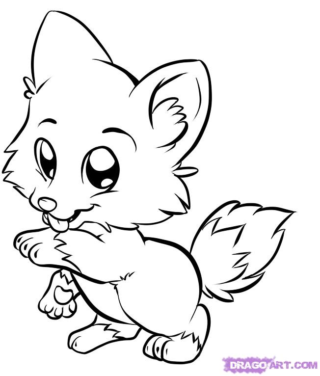 652x766 Cute Cartoon Animal Coloring Pages Wolf For Kids Draw Baby Animals