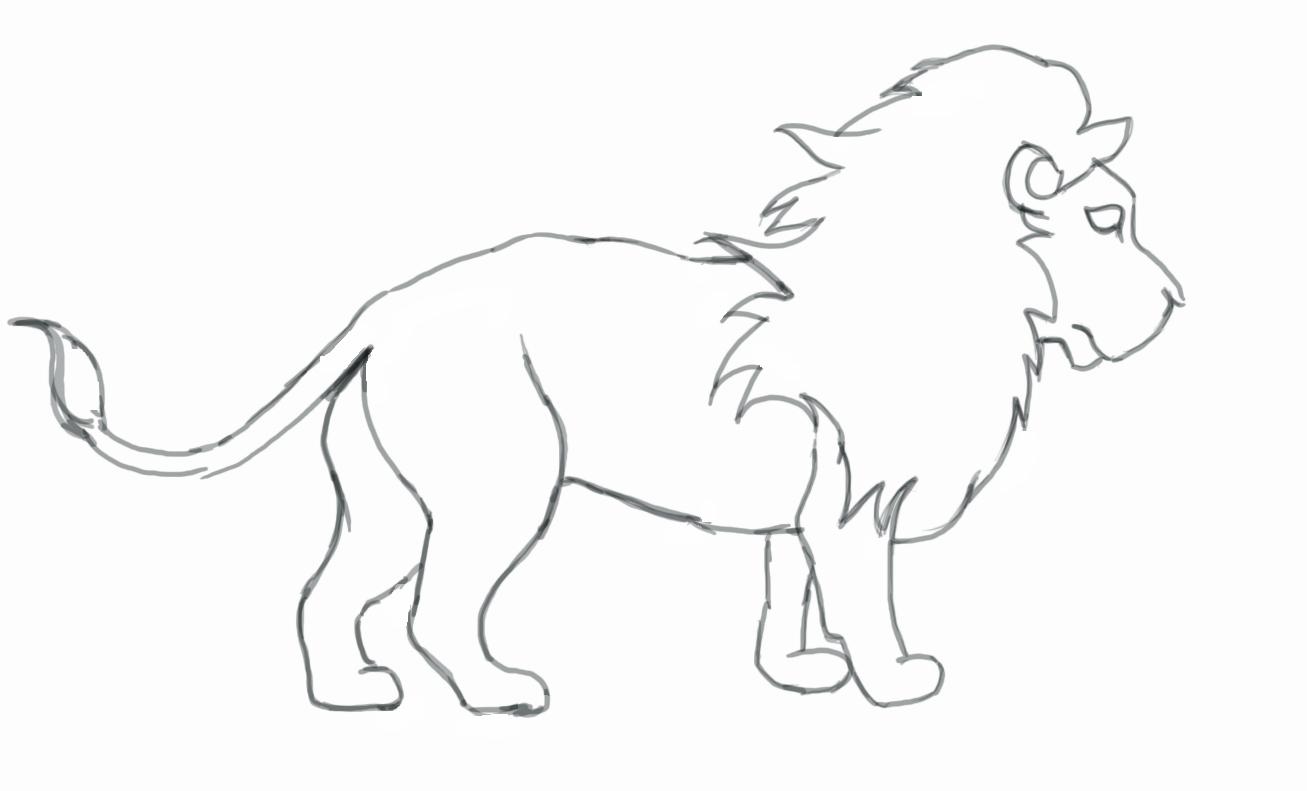1307x791 Easy Pencil Sketches Of Cartoon Lion